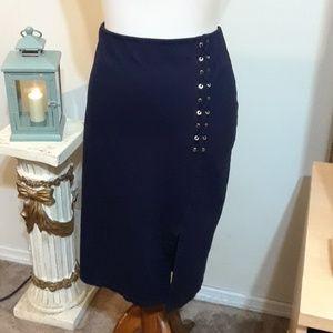 Beautiful Ralph Lauren Navy Lace-up Skirt